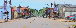 Augusta, Wisconsin, digitally Manipulated Photograph by Lee Cochrane, 6in x 16in, $100 (May 2019)
