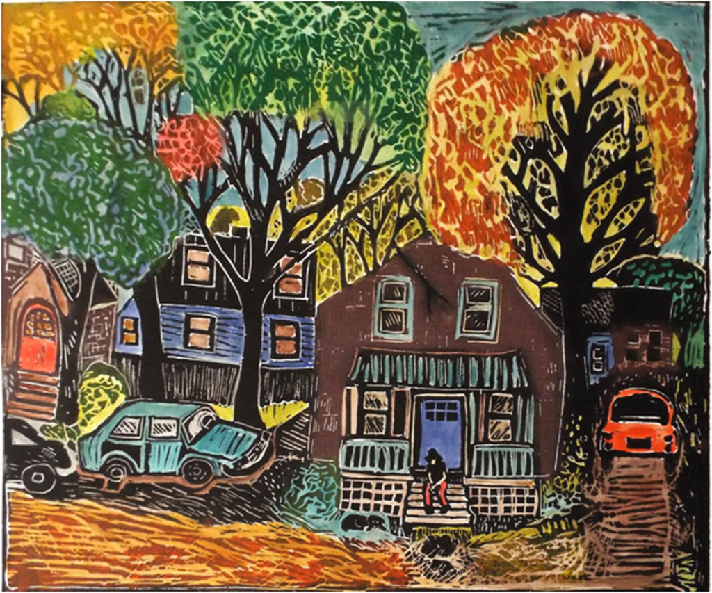 SECOND PLACE: Autumn In The Old Neighborhood, Lino Cut Block Print by Linda Larochelle, 20in x 24in, $450 (May 2019)