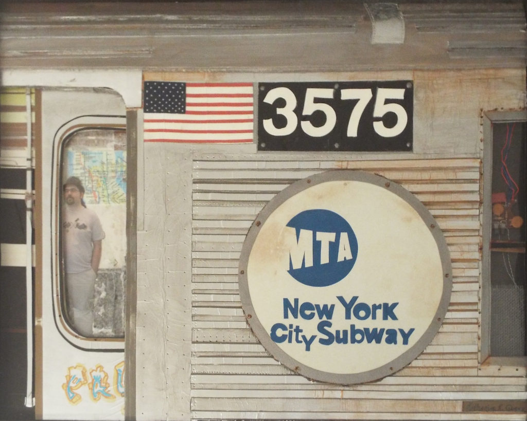 HONORABLE MENTION: Paul on the Subway, Mixed Media by Katharine K. Owens, 16in x 20in, $850 (May 2019)