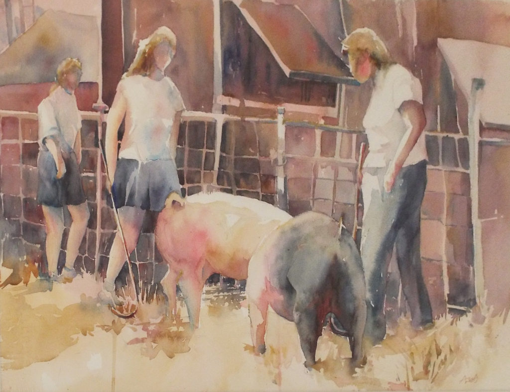 THIRD PLACE: Pig Handlers (Frying Pan Park, Fairfax County), Watercolor by Amanda Lee, 20in x 26in, $300 (May 2019)