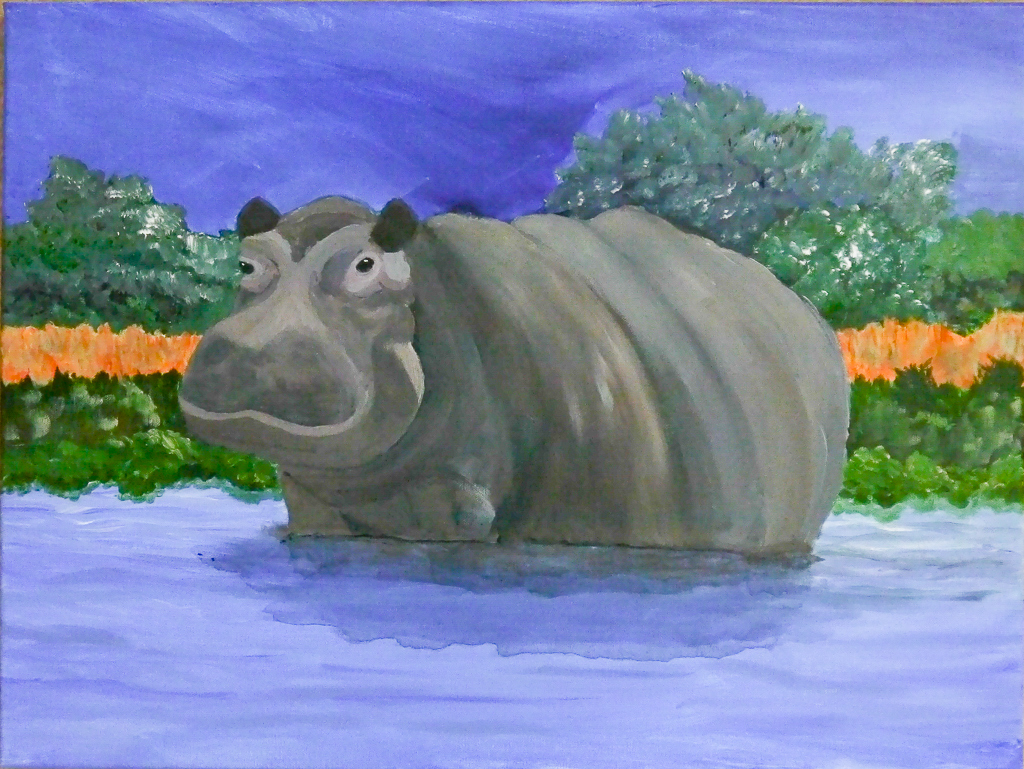 Happy Hippo, work by R. Taylor Cullar (MG: June 2019)