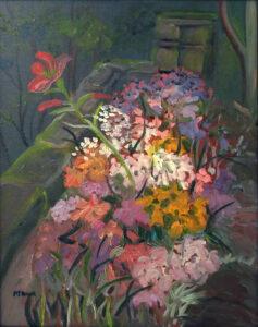 Belmont Blooms, Oil-plein air by Pat Knock, 19in x 15in, $260 (July 2019)