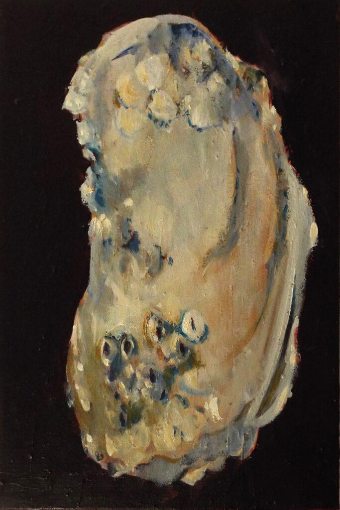 THIRD PLACE: Oyster No. 3, Oil by Marcia Covert Chaves, 12in x 8in, $185 (July 2019)