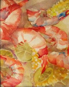Shrimp Boil, Watercolor by Amanda Lee, 8in x 5.5in, $195 (July 2019)