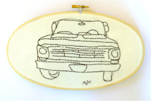 "<<68' Ford>> ""line drawing"", Textile -hand embroidery by Mary E. Johnson-Mason, 5in x 9in, $65 (August 2019)"