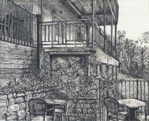 Dining Out, Pen and Ink by Faith Gaillot, 9in x 11in, $400 (August 2019)