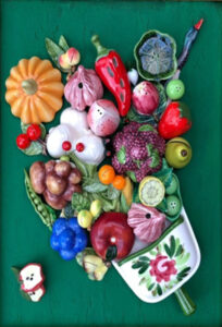 Eat Your Fruits and Vegs, Mosaic by Cathy Ambrose Smith, 24in x 17in x 2in, $265 (August 2019)