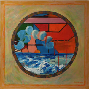 Portholes 16, Mixed Media by Cathy Herndon, 30in x 30in, $550 (August 2019)