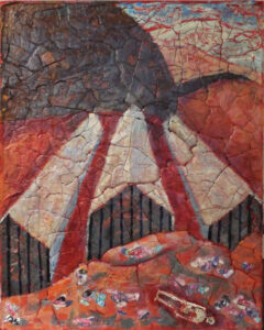 Summer Camp at Border, Mixed Media by Patricia Smith, 30in x 24in, $500 (August 2019)