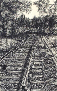 Which Way, Pen and Ink by Faith Gaillot, 12in x 7.5in, $400 (August 2019)