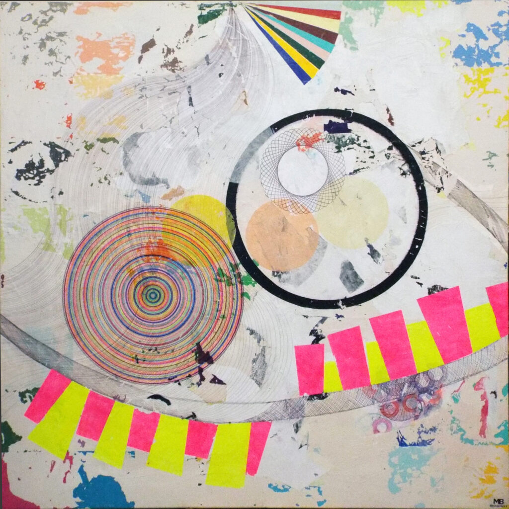 HONORABLE MENTION: Chemical Attraction, Mixed Media by Michael Broadway, 41in x 41in, $1000 (September 2019)