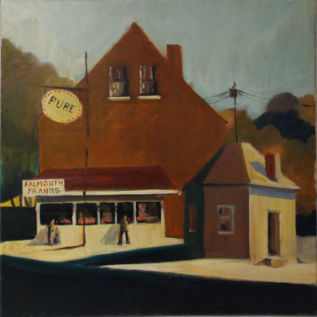 HONORABLE MENTION: Falmouth Franks, Oil by Marcia Chaves, 20in x 20in, $425 (September 2019)