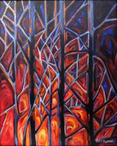 Inferno, Oils by Rita Kovach, 20in x 16in, $160 (November 2019)