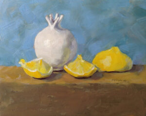 Cypriot Pomegranate and Lemons, Oil on Cradled Panel by Kris Rehring (Dec. 2013-Jan. 2014)