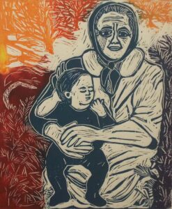 In My Arms, Unique Variation Lino Print by Linda Larochelle (March 2016)
