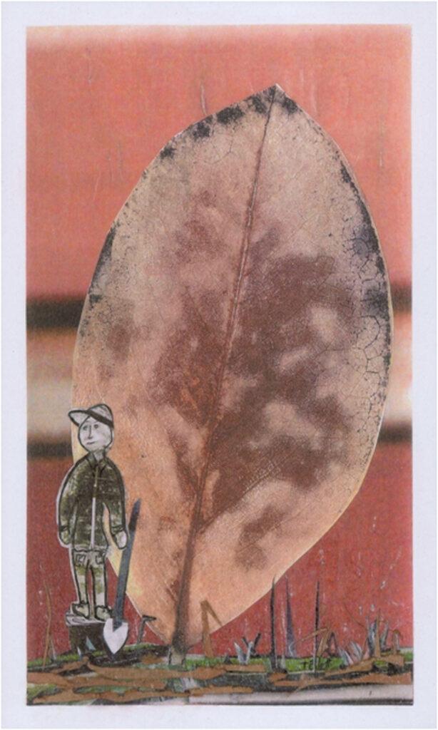 HONORABLE MENTION: Memento Mori, Mixed media Collage by Teresa Blatt, 10in x 6in, $200 (November 2019)