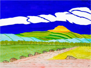 Mount Haupu After Rain, Kaua' i, Watercolor by Bro Halff, 12in x 16in, $900 (November 2019)