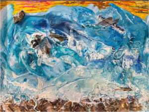 Ocean Frenzy, Melted Crayon, Acrylic and Sand by Sara Gondwe, 20in x 30in, $250 (November 2019)