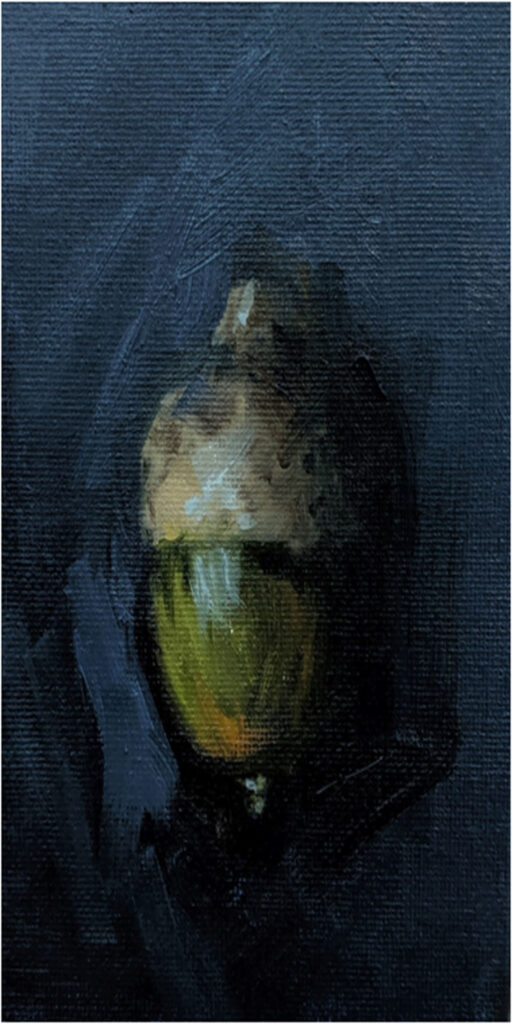 HONORABLE MENTION: Potential, Oil on Board by R. R. Christensen, 6in x 3in, $216 (November 2019)