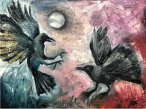 The Crows, Oil on Canvas by Ayesha Kahn, 18in x 24in, $240 (November 2019)