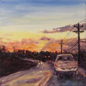 Evening Commute, Acrylics by Aryn L. Garfield, 8in x 8in, $125 (Dec. 2019 - Jan. 2020)
