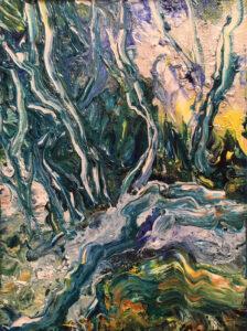 Van Gogh's Stream, Acrylic by Carolyn R. Beever, 7in x 5in, $95 (Dec. 2019 - Jan. 2020)