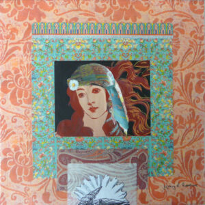 Bohemian Goddess, Collage by Kay L. Roscoe, 12in x 12in, $200 (March 2020)