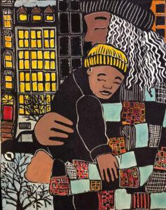 City Walk, Lino Cut by Linda Larochelle, 24in x 19in, $425 (March 2020)