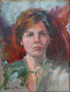 Concerned, Oils by Beverly Toves, 15in x 11.5in, $3500 (March 2020)