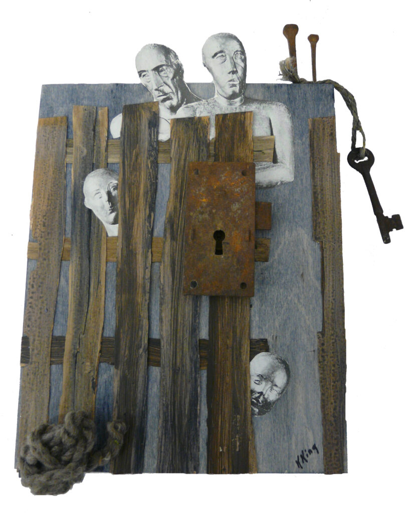 HONORABLE MENTION: Dare I Step Out, Mixed Media by Kathleen King Mullins, 11in x 8in, $95 (March 2020)
