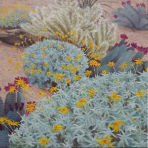 Desert Bloom, Acrylic by Charlotte Burrill, 12in x 12in, $125 (Feb-May 2020 CBTC)