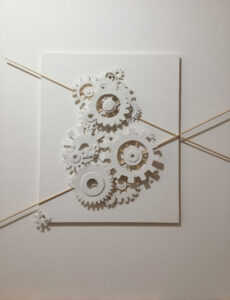 Gear Up, Paper Construction by Katharine Owens, 20in x 16in x 1.5in, $850 (Feb-May 2020 CBTC)
