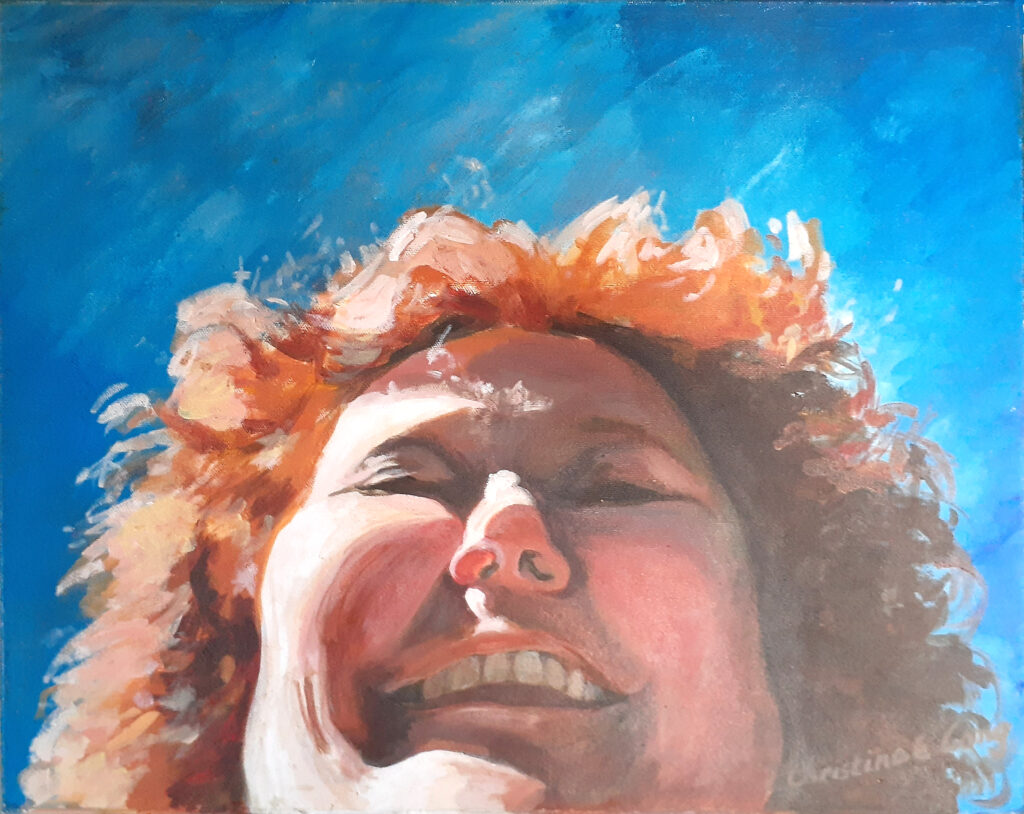 FIRST PLACE: Laughing Self-Portrait, Acrylic on Canvas by Christine E. Long, 15.5in x 19.5in, NFS (March 2020)