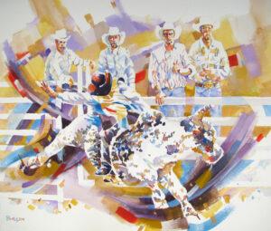 Moonie Hangs On, Watercolor by Kit Paulsen, 17in x 20in, $700 (March 2020)