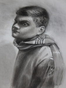 Quizzical, Charcoal & Graphite by Christine Dixon, 24in x 18in, $650 (March 2020)