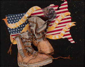 Sam's Boots, Paper Construcion by Katharine Owens, 23in x 26in, $1250 (Feb-May 2020 CBTC)